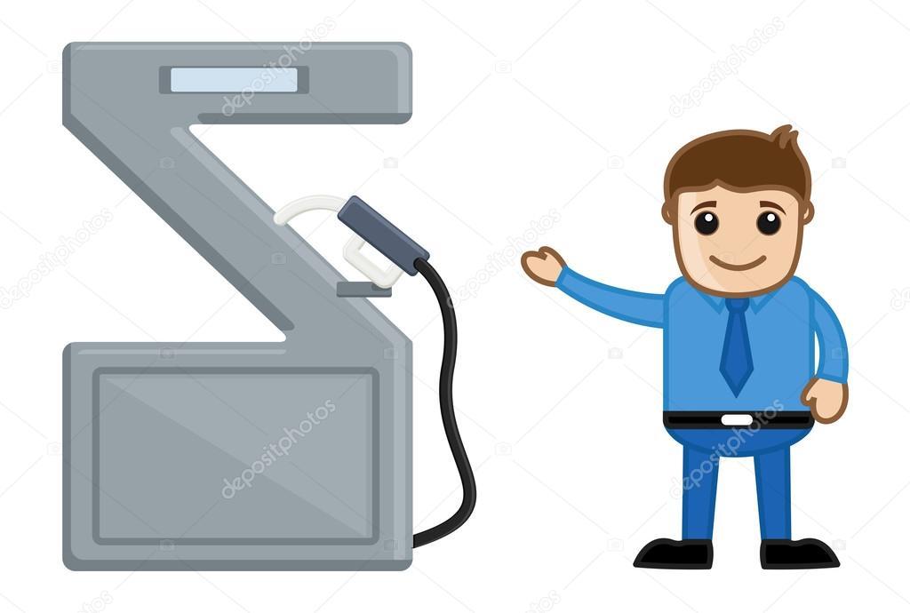 Pompa di benzina visualizzando uomo illustrazione