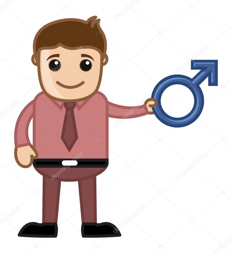 Uomo che tiene il simbolo di sesso maschile