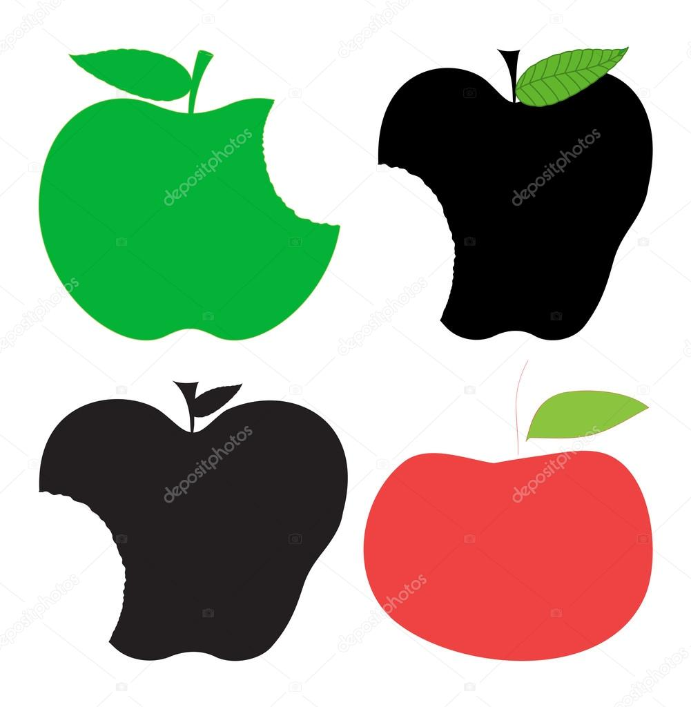 Abstract Vintage Eaten Apples Vector Shape Designs By Baavli