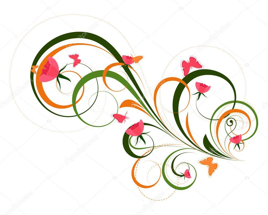 Dekoracyjne Artystyczne Motywy Kwiatowe Grafika Wektorowa
