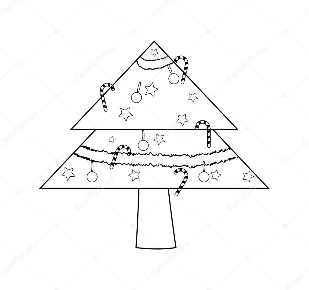 Retro Christmas Tree Drawing