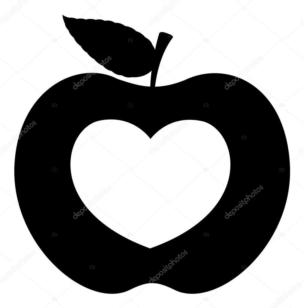 Black Shape Heart Apple — Stock Vector © baavli #57982061