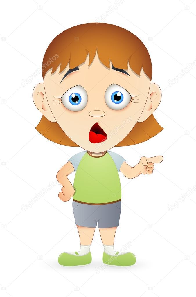 Shocked Cartoon Girl Pointing — Stock Vector © baavli ...