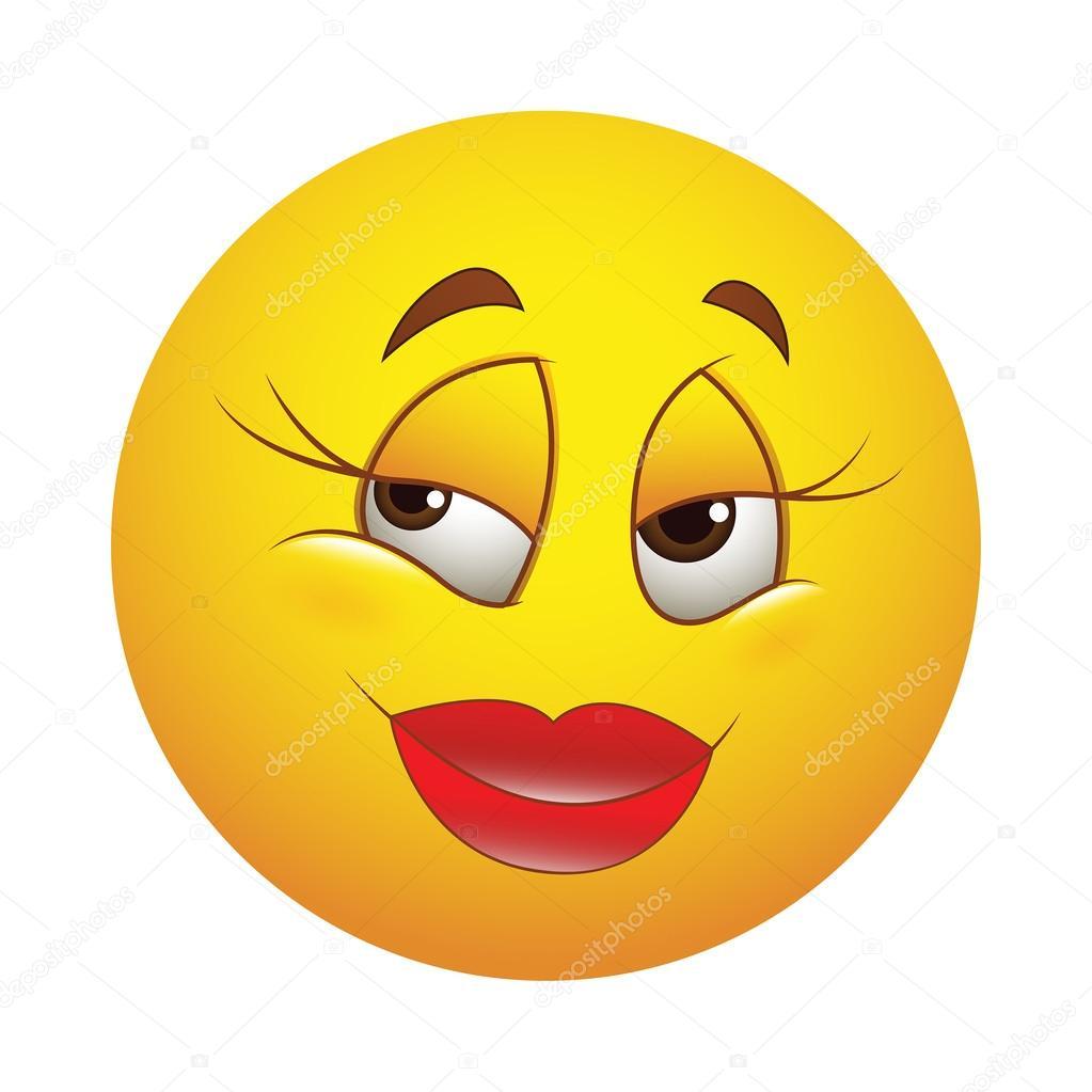 Süße glückliche weibliche Smiley - Vektorgrafik