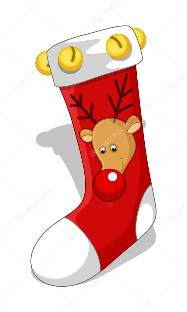 Cartoon Christmas Reindeer Face Stocking With Bells Vector Illustration By Baavli