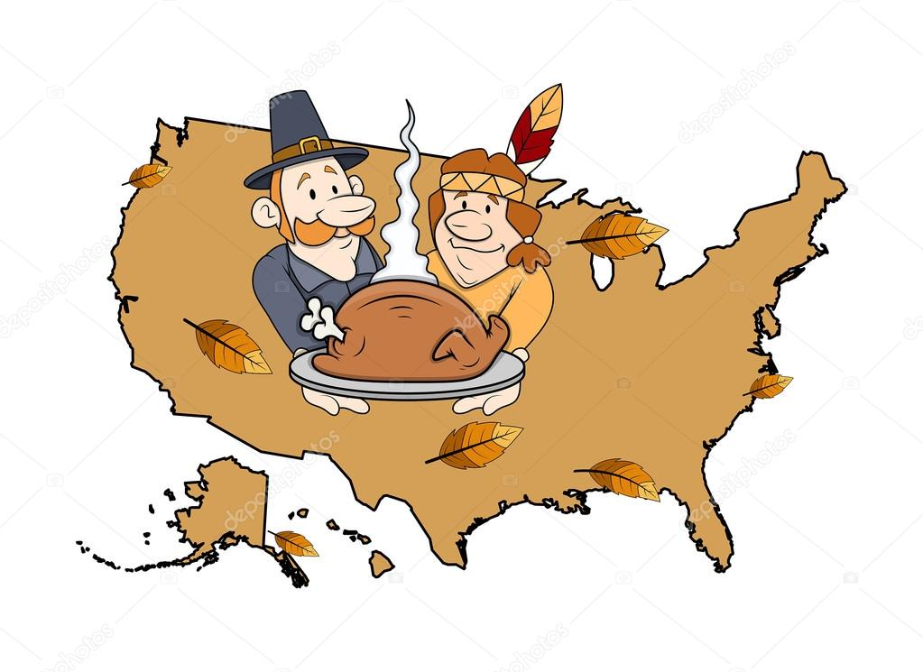Cartoon Characters Celebrating Thanksgiving Day — Stock ...