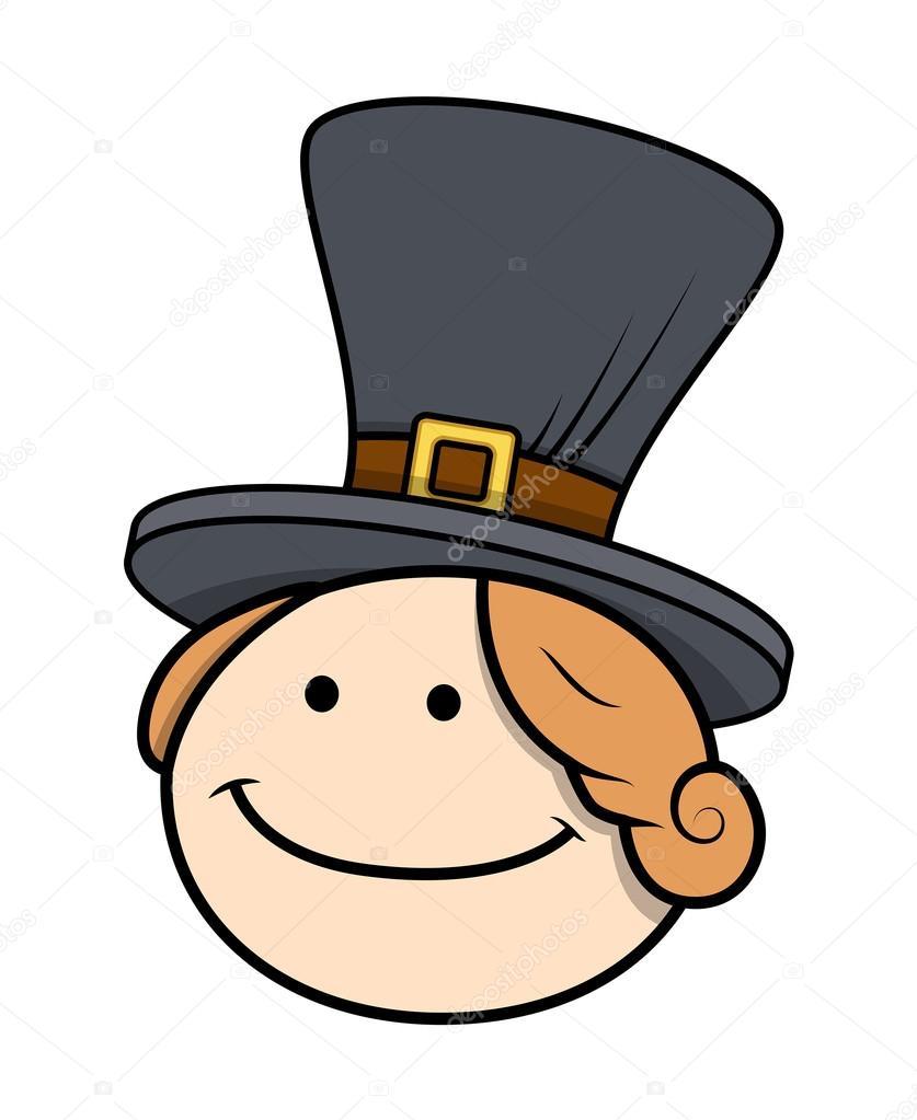 Cara de niño feliz de dibujos animados con sombrero– Ilustración de Stock eff4b6e9270