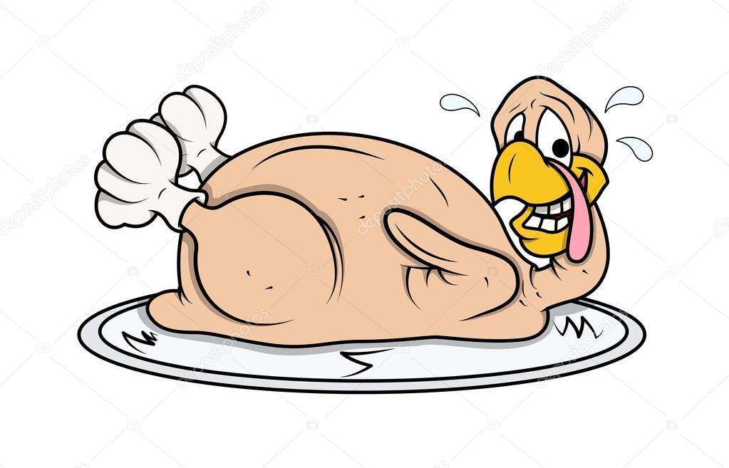 Animado Pollo Para Comer Cara Divertida Pavo Pollo En Placa