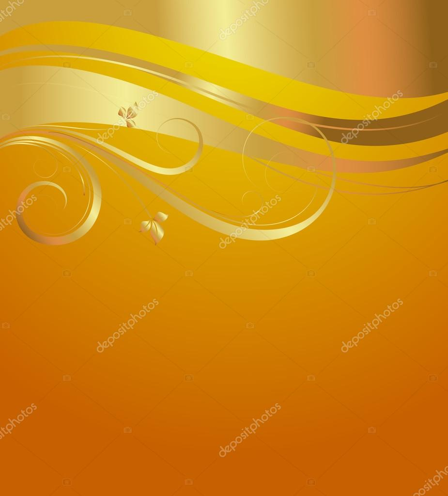 Golden Floral Greeting Background Stock Vector Baavli 63898803