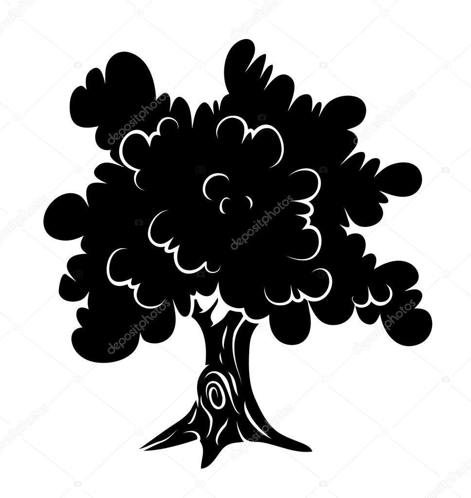oak tree silhouette u2014 stock vector baavli 64244635