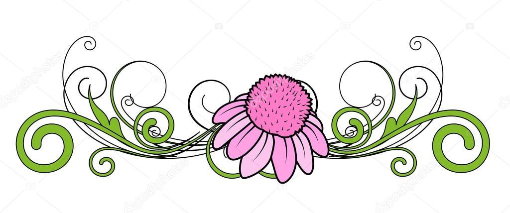 Pink Flower Vector Divider