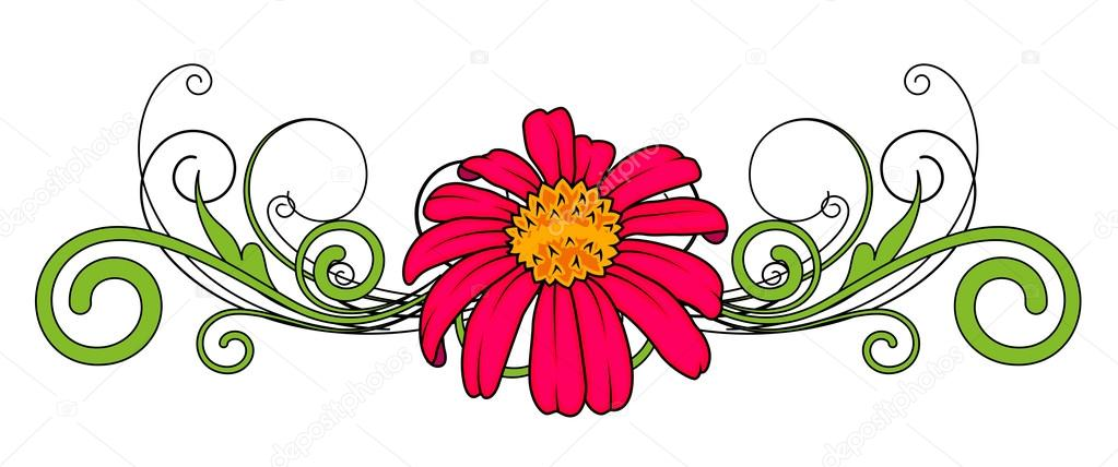 Red Flower Vector Divider