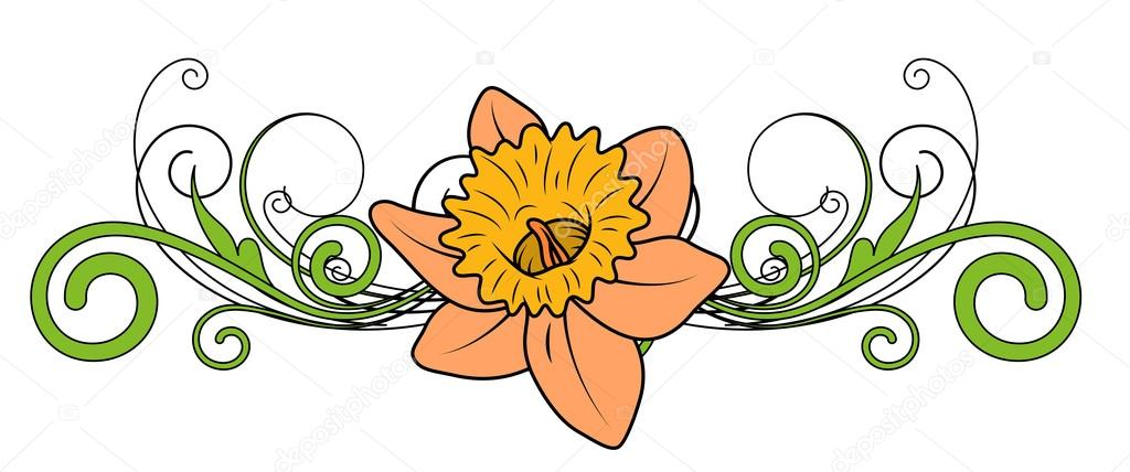 Yellow Flower Vector Divider