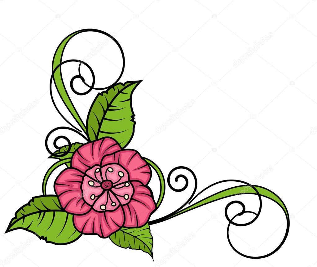 Pink Flower Corner Frame — Stock Vector © baavli #64338127