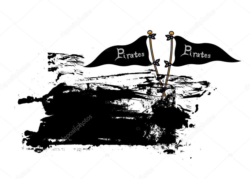 Banner de Grunge banderas pirata — Archivo Imágenes Vectoriales ...