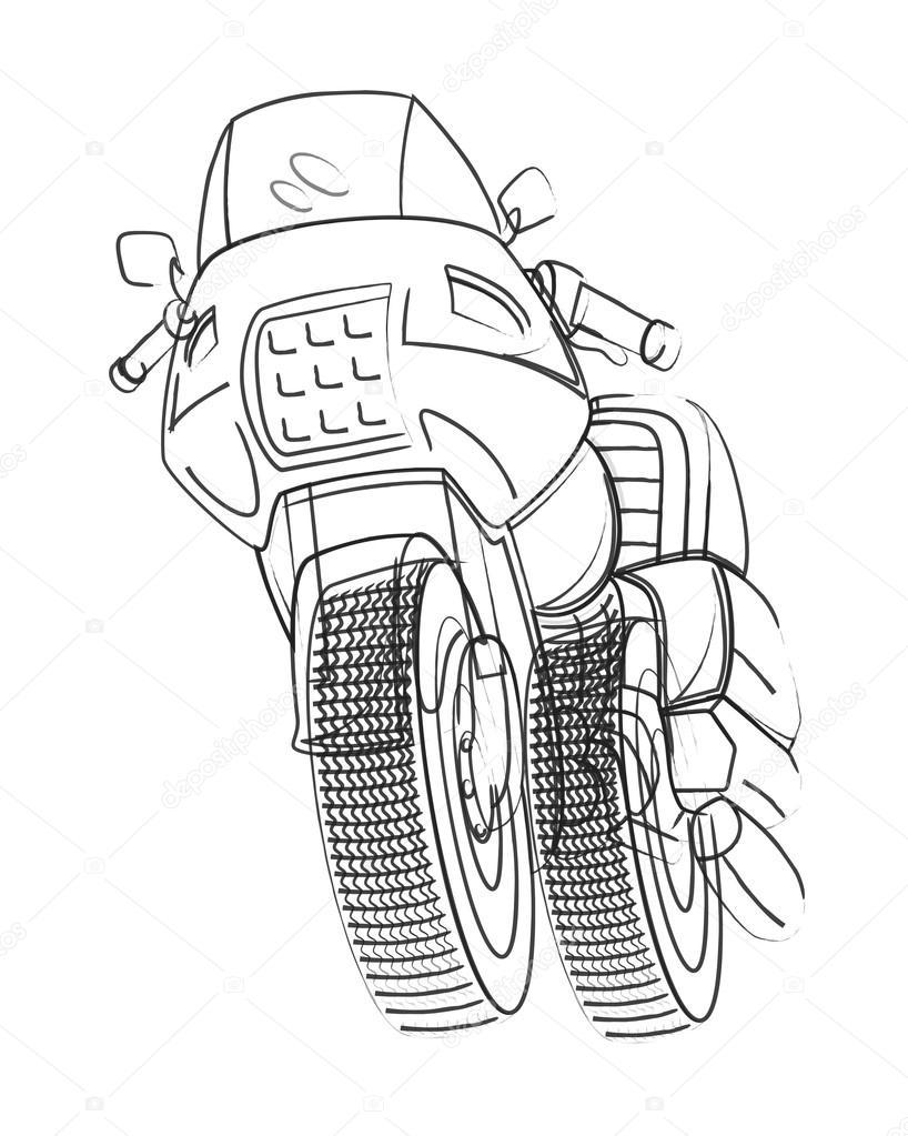 Dibujo De Moto Deportiva Dibujo De Vector De Moto Deportiva