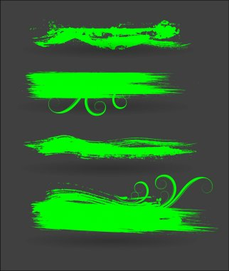 Green Flourish Paint Strokes Set