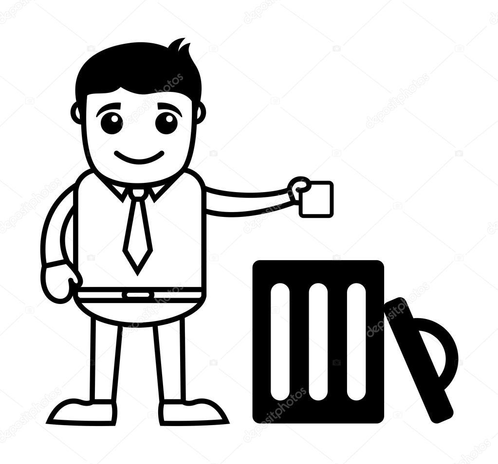 Homme jeter les ordures dans la poubelle image vectorielle baavli 65388927 - Dessin de poubelle ...