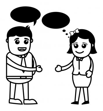 Man and Woman Talking - Vector Illustration