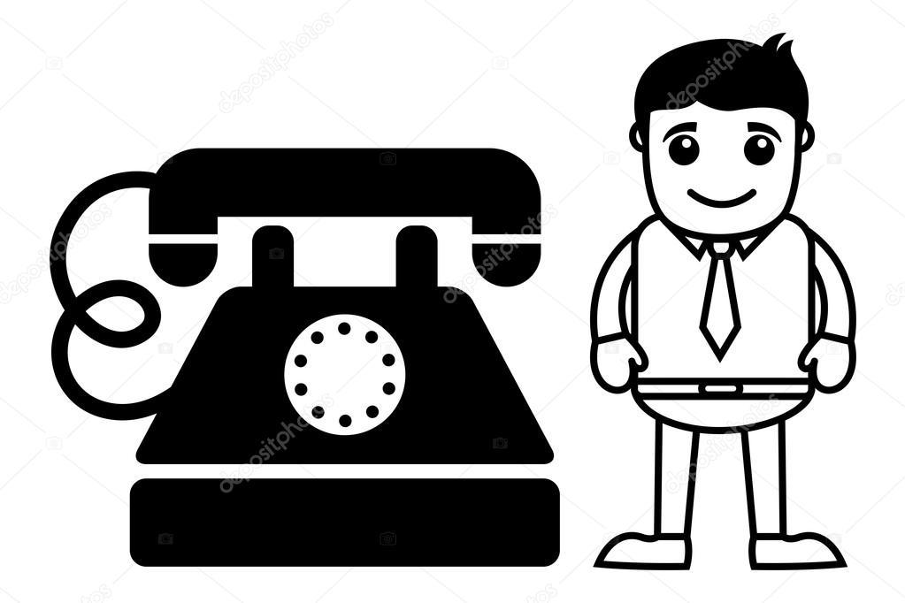 Hombre De Dibujos Animados Con Un Teléfono Antiguo