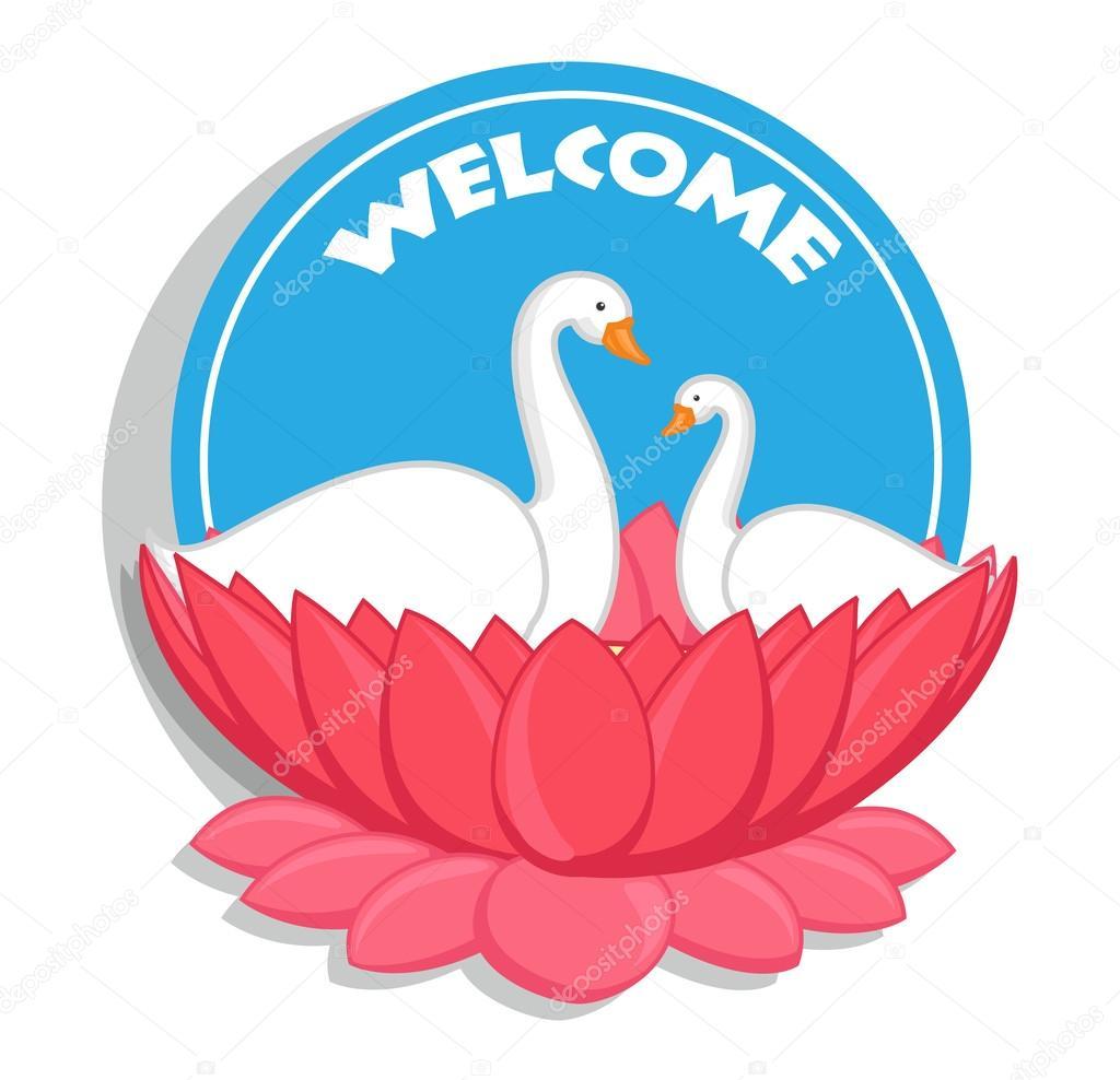 Welcome Banner - Swan Birds in Lotus Flower