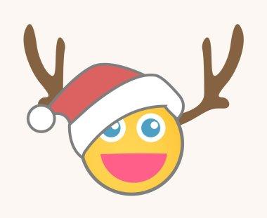Santa Reindeer - Cartoon Smiley Vector Face