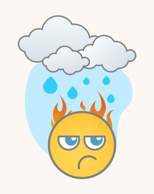Jealous in Rain - Cartoon Smiley Vector Face