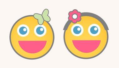 Happy Female Cartoon Smiley Characters