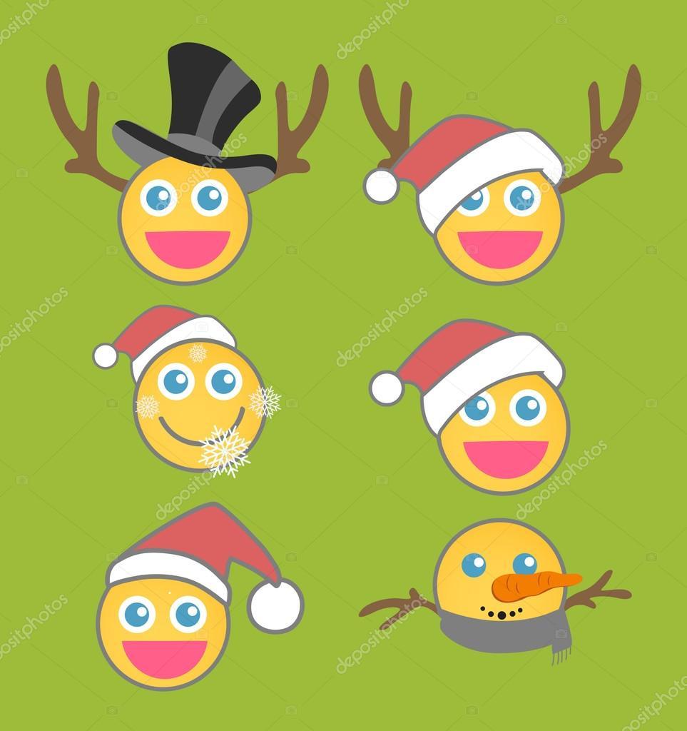 Weihnachten Smiley Vector Set — Stockvektor © baavli #77017059