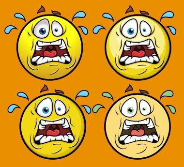 Horrified Emoticon Set