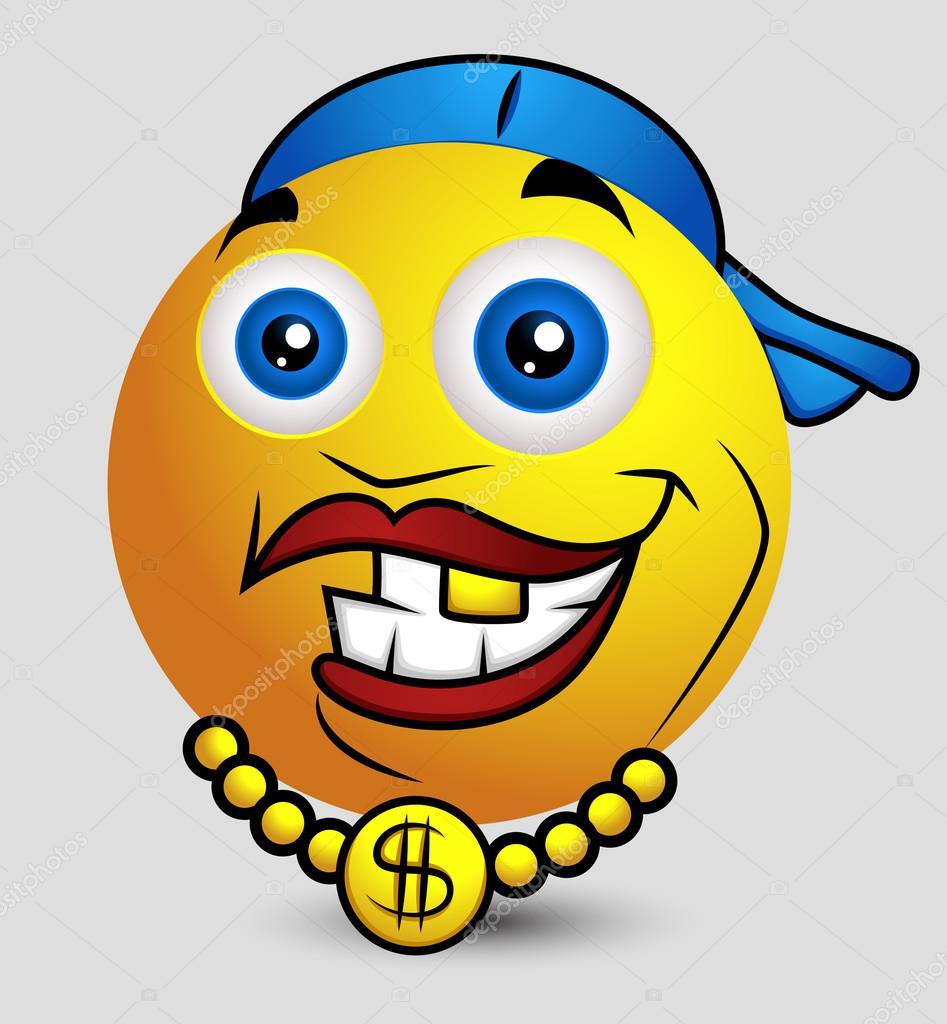 Emoticone Drole hip hop rappeur emoji smiley emoticon — image vectorielle baavli