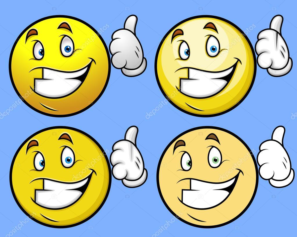 Pulgares para arriba - dibujos animados Smiley Set — Vector de stock