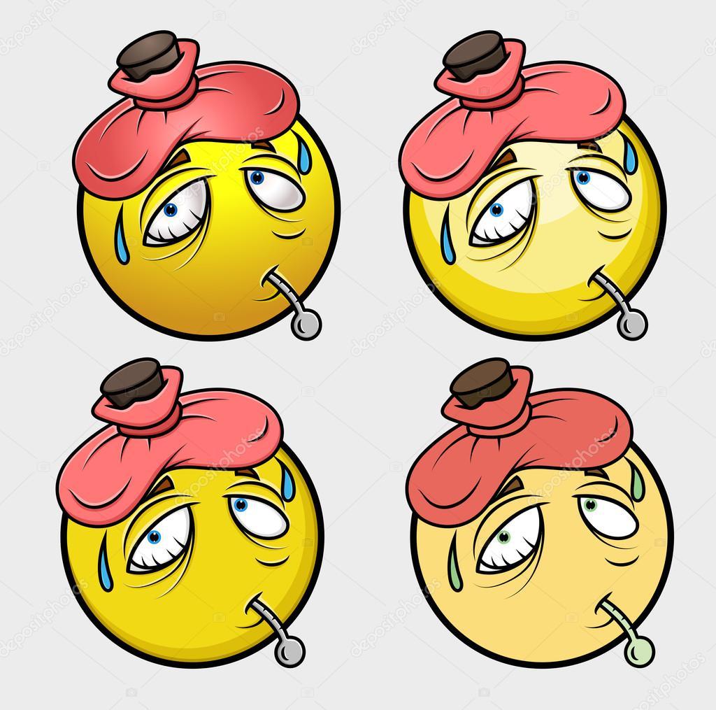 dessin anim malade avec thermomtre et banquise vector illustration vector by baavli
