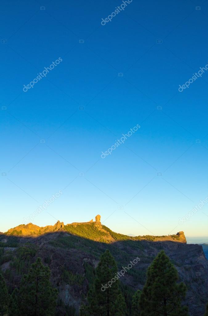 Gran Canaria, Caldera de Tejeda, sunrise over Roque Nublo  mount