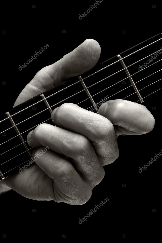 The Tristan chord on guitar (higher four strings) — Stock Photo ...