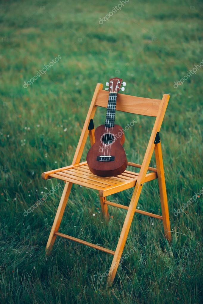 poco pie de guitarra sobre una silla en la hierba en la naturaleza ...