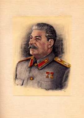 Card with a picture of  Stalin artist  Karpov, 1946