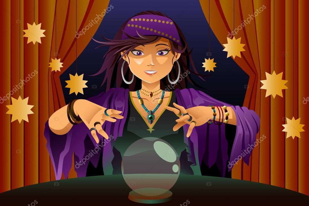 fortune teller reading crystal ball stock vector artisticco