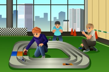 A vector illustration of happy kids playing to cars racing together clip art vector