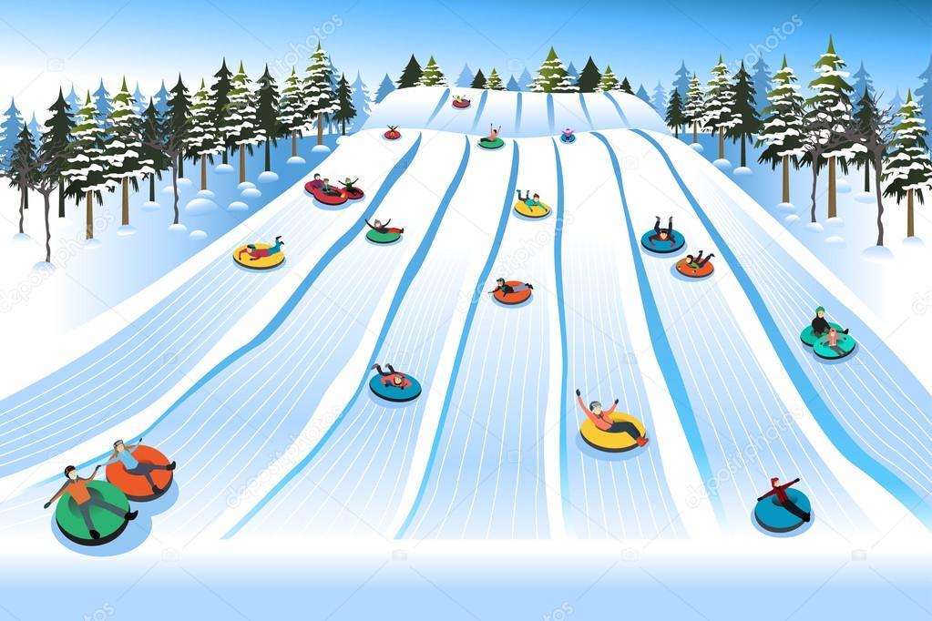 Gens s amuser glissade sur tube hill au cours de l hiver for Chambre a air pour glisser