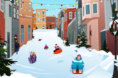 Kids Sledding on a Snowy Street During Winter Season
