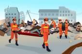 záchranné týmy prohledávání zničených budov