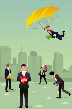 Solving business puzzle teamwork concept