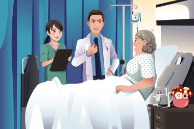 A vector illustration of doctor and nurse talking to a patient at the hospital clip art vector