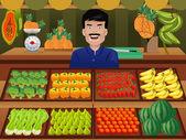 Prodejce ovoce na zemědělce trhu