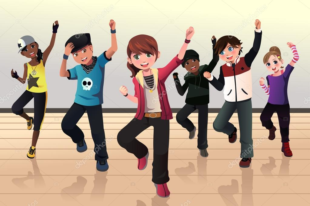 a vector illustration of kids in hip hop dance class artisticco voltagebd Choice Image