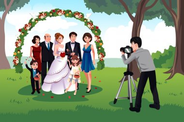 Man photographing a family in a wedding
