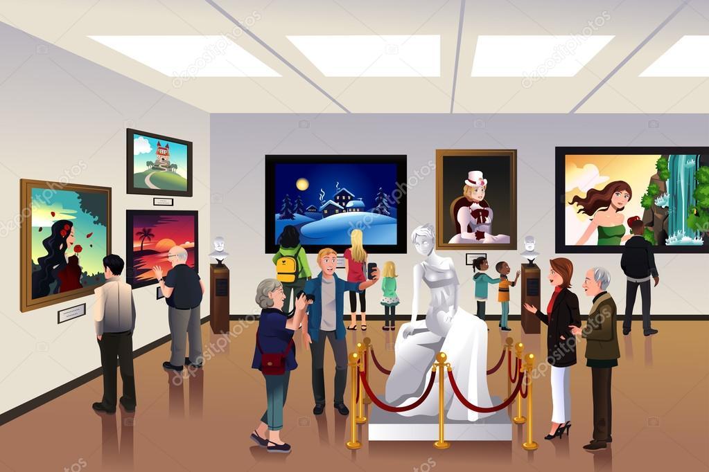 Exhibition Booth Clipart : Personas dentro de un museo — archivo imágenes vectoriales