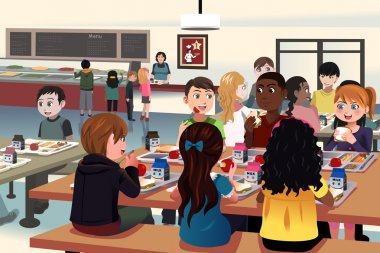 Kids eating at the school cafeteria