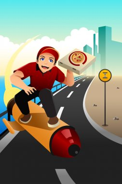 Pizza delivery guy deliver the pizza